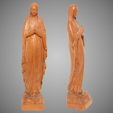 Art Nouveau Grand Tour Souvenir Carving of Our Lady of Lourdes - Wood Mary Sculpture by Lucien Tessry