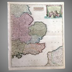 Beautiful Antique map of South-East England incl. London (F. de Witt ca 1700)