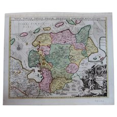 Rare antique Map of East Frisia / Friesland (Allard, Carel: circa 1697)