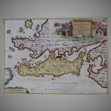 Very Scarce Map / Sea Chart of Euboea and Mainland of Greece incl. Athens (Pierre vander Aa)