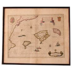 17th Century Map of The Balearic Islands, Barcelona, Valecia, Mallorca, Ibiza by Blaeu in double glass frame