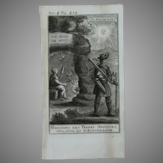 1717 Copper Engraving of the people from the Arctic, Iceland & Estotiland - 18th Century Ethnographic Print
