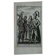 1717 Copper Engraving of the people of Virginia & Florida - 18th Century Ethnographic Print