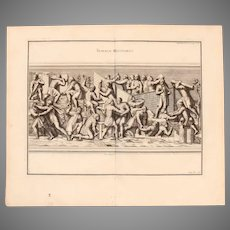 "18th Century Copper Engraving of Ancient Roman Scene ""Military Work"" from L'antiquité expliquée et représentée en figures by Bernard de Montfaucon"