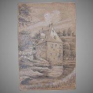 1920's Original Art Nouveau Crayon & Pencil Drawing of Castle Overbach by Franz Brantzky