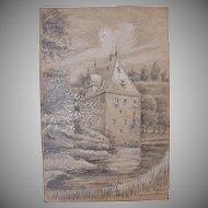 1920's Original Art Nouveau Crayon & Pencil Drawing of Castle Overbach by Franz Brantzky