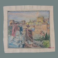 "Rare 19th Century Original Crayon Drawing ""Jesus on the Mount of Olives"" by Franz Brantzky"