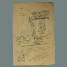 "19th Century Original Sketch for the book ""Reiseskizzen"" by Franz Brantzky"