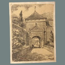 1910's Charcoal Drawing of the Castle Setterich near Jülich Germany by Franz Brantzky