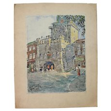Rare Expressionist Ink & Watercolor painting by Franz Brantzky of a scene in front of the Krakow Gate of Lublin Poland