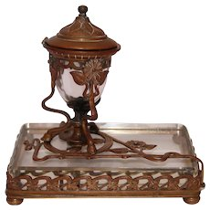 Antique Art Nouveau Gilt Bronze and Crystal Inkwell