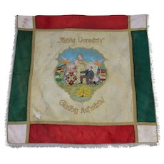 "1910's Large Hand Embroidered Flag of ""Schützenverein"" Vigilante Fraternity from Bavaria / Silk Metal"