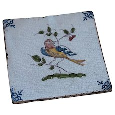 17th century Dutch Delft Polychrome Pottery Tile with Bird / Parrot