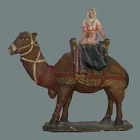 Original Antique Neapolitan Creche Figure - Woman on a Camel