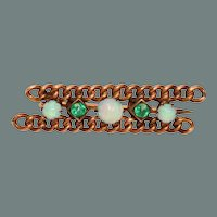 Victorian Opal, Glass Gold Filled Decorative Pin Brooch