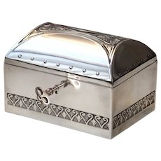 Art Nouveau WMF Jewelry Box with Key - Silver plated Jugendstil Treasure Chest from circa 1910