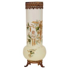 19th Century white opalescent handpainted Vase - Opaline Glass with gilt detail