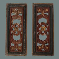 19th Century Set of 2 Carved Wood Window Panels - Baroque Design