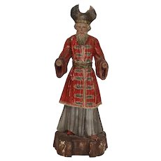 18th Century Baroque Statue of one of the 3 Holy Kings - carved wood Crèche Sculpture