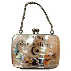 1900's Mother of Pearl Handpainted Change Purse from Jerusalem - Grand Tour Souvenir Israel