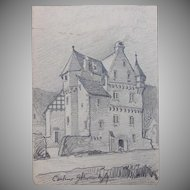 1900's Original Art Nouveau Pencil Drawing by Franz Brantzky