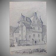 1900's Original Art Nouveau Pencil Drawing by Franz Brantzky