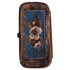 19th Century Victorian Hand beaded leather wallet