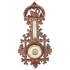 Black Forest Art Nouveau Swan Barometer / Thermometer / Weather Station