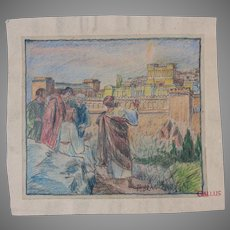 """Rare 19th Century Original Crayon Drawing """"Jesus on the Mount of Olives"""" by Franz Brantzky"""