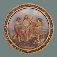 19th Century Station of the Cross (Jesus is stripped of his garments) Polychrome Gesso