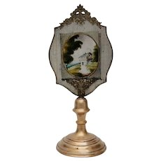19th Century Reverse Glass Painting / Lithopane on amazing Brass and Metal Stand