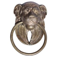 19th Century Empire Bronze / Brass Metal Lion Head Handle