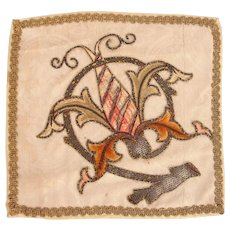 18th Century Silver & Gold Embroidered Pall / Chalice or Ciborium Cover