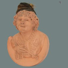19th Century Terracotta Bust of a Smoking Gentleman with real Velvet Bonnet from Paris