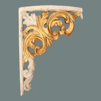 Original 18th Century Late Baroque / Rococo Wood Carved Gilt Corner Ornament