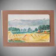 "1920's Original Impressionism Aquarelle Painting ""Harvest by the Lake"" by Franz Brantzky"