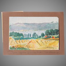 """1920's Original Impressionism Aquarelle Painting """"Harvest by the Lake"""" by Franz Brantzky"""