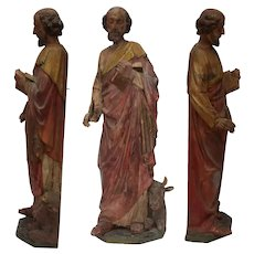 19th Century Gothic Revival Sculpture of St. Luke the Evangelist - Carved Fruit Wood