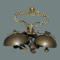 18th Century Baroque Sanctus Bells - Bronze Altar / Sacristy Bells with Cherub