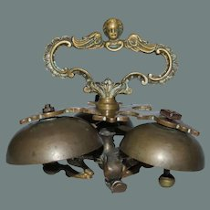 18th Century Baroque Sanctus Bells - Bronze Altar / Sacristy Bells with Cherub