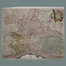 17th Century Antique Baroque map of North Italy including Parma, Milan, Lake Garda, Genoa & more by Frederick de Witt