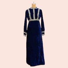 Stunning Vintage Blue Velvet and Lace Maxi Dress