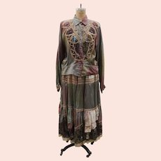 Vintage 1980s Velvet Lace Patchwork Skirt and Blouse Set