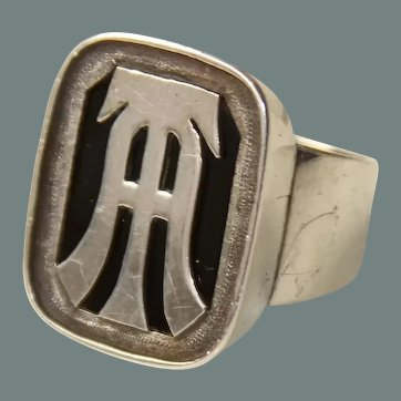 Unique & Large Art Deco Sterling Silver & Onyx Signet Ring AT / TA with original Box