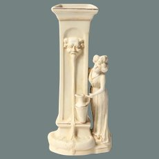 "1910's Art Nouveau Biscuit Porcelain Figurine ""Lady at the Fountain"" - Bisque Vase with Gilt details"