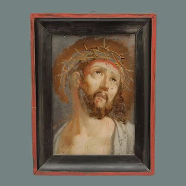 19th Century Reverse Glass Painting of Jesus with the Crown of Thorns - Verre Eglomisé Portrait of Christ during Passion