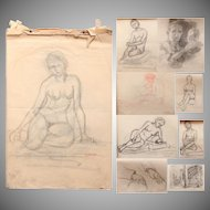 19th Century Original Sketchbook with 12 Charcoal Drawings  by Franz Brantzky