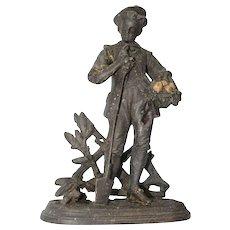 "Original Antique Bronzed Metal Sculpture ""The young Gardener"", Continental Europe circa 1890"