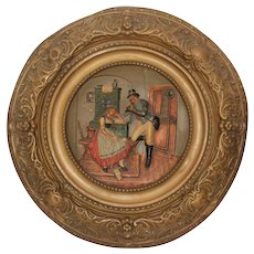 19th Century Gesso Relief of Postman and young Lady in Bronze Frame with Cherub - Polychrome