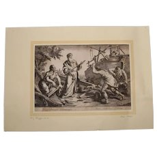 Rare 17th Century Copper Engraving of Noah Building the ark